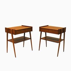 Tables de Chevet en Teck d'AB Carlström & Co, Suède, années 60, Set de 2