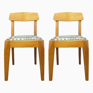 German Walnut Anthroposophical Dining Chairs by Siegfried Pütz, 1920s, Set of 2