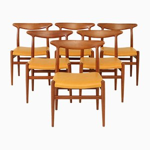 Vintage W2 Dining Chairs by Hans J. Wegner for C M Madsen, 1953, Set of 6