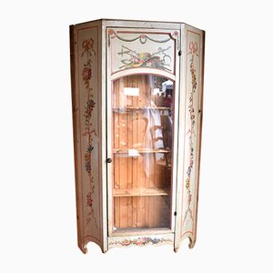 Antique Painted Wood Display Wall Cabinet