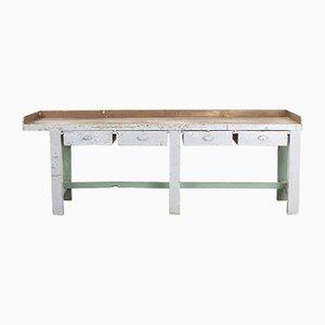 Mesa de trabajo industrial vintage de madera, años 20