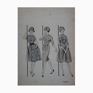Mode Drawing: Three Classical Dresses Gemälde von Rosy Andreadi-Verdier