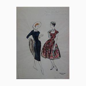 Mode Drawing: Black and Color Dresses Gemälde von Rosy Andreadi-Verdier