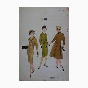Mode Drawing: Fall Elegant Dresses Gemälde von Rosy Andreasi-Verdier