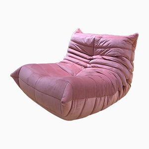 Vintage Pink Velvet Togo Lounge Chair by Michel Ducaroy for Ligne Roset
