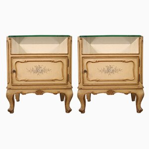 Vintage French Lacquered, Gilded & Painted Nightstands, 1960s, Set of 2