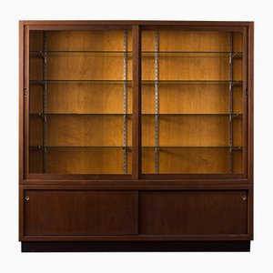 German Oak Veneer Display Cabinet, 1950s
