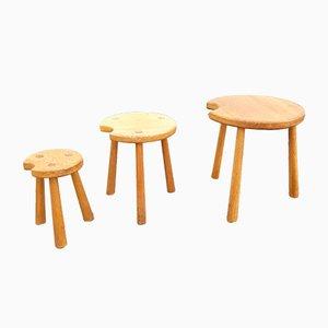 Tavolini ad incastro brutalisti in quercia, anni '60, set di 3