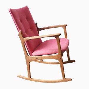 Pinker dänischer Mid-Century Schaukelstuhl aus Teak von Vamdrup Stolefabrik