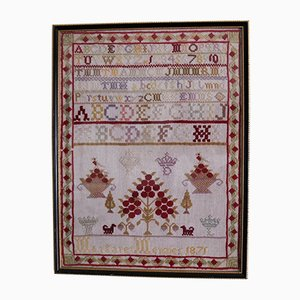 Antique Victorian Needlework Sampler by Margaret Menzies, 1871