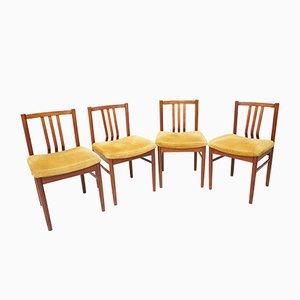 Mid-Century Esszimmerstühle mit gelben Sitzpolstern, 4er Set