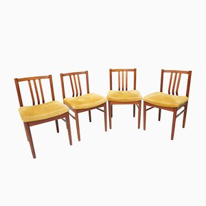 Mid-Century Wooden Yellow Dining Chairs, Set of 4