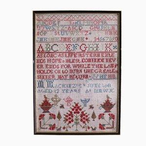 Tapiz de bordado victoriano antiguo de Margaret Mackenzie, 1841
