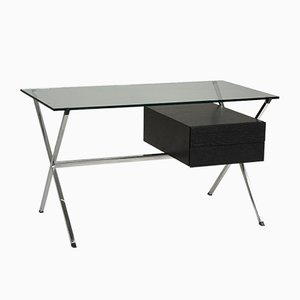 Crystal, Wood, and Chromed Steel Model 1928 Desk by Franco Albini, 1950s