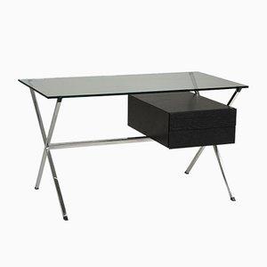 Modell 1928 Schreibtisch aus Kristallglas, Holz & verchromtem Stahl von Franco Albini, 1950er