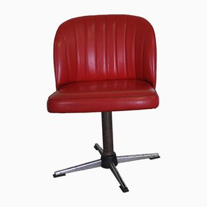 Red Leatherette Swivel Chair, 1950s