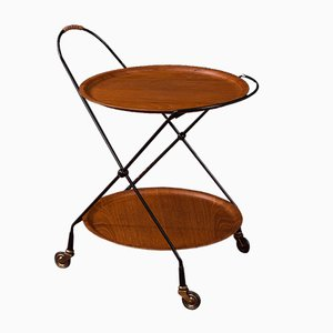 Swedish Teak, Brass, and Leather Trolley by Ary Fanérprodukter for Nybro, 1950s