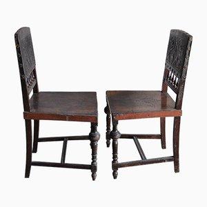 Antike ungarische Esszimmerstühle mit gestanzter Lederlehne, 2er Set