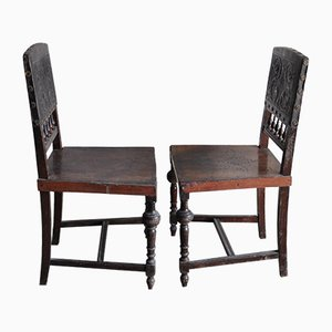 Antique Hungarian Embossed Leather Dining Chairs, Set of 2