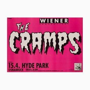 Póster de concierto de The Cramps alemán vintage, 1986