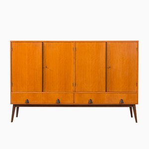 German Cherry Wood Veneer Sideboard, 1950s