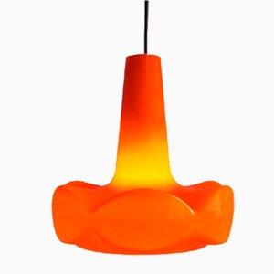 Lampe à Suspension Orange en Verre Opalin, années 60