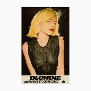 Póster de promoción de Blondie en Private Stock Records vintage, 1976