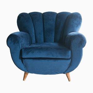 Blauer Vintage Sessel von Poltrona Frau