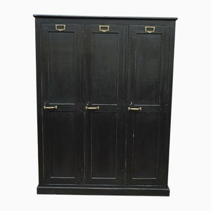 Vintage Industrial Black Fir Cabinet, 1930s