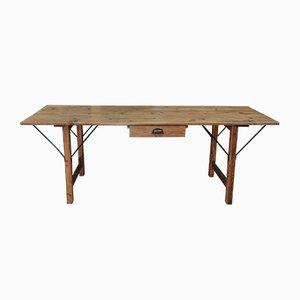 Table de Travail Vintage en Sapin et en Métal, années 30
