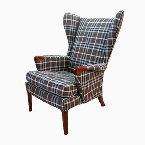 Checkered Wingback Armchair from Parker Knoll, 1960s