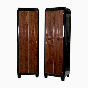 Mahogany Burr and Black Lacquer Cabinets, 1930s, Set of 2