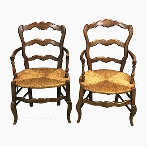 Vintage Cherry Wood Armchairs, Set of 2