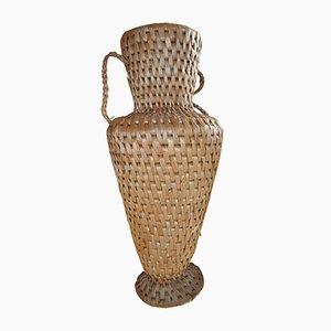 Vase aus Korbgeflecht, 1940er