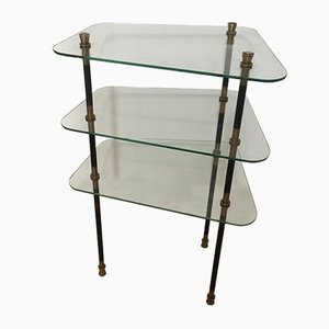 Mid-Century Glass and Brass Shelf