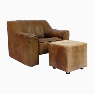 Vintage Model DS44 Adjustable Armchair and Ottoman from de Sede, Set of 2