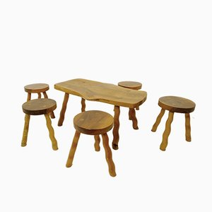 Vintage Wooden Table and Stool Set, Set of 6