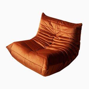 Vintage French Velvet Togo Lounge Chair by Michel Ducaroy for Ligne Roset