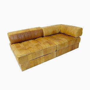Sofá modular DS88 vintage de cuero de de Sede, años 70