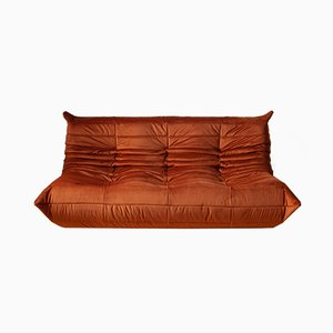 Vintage French Velvet 3-Seater Togo Sofa by Michel Ducaroy for Ligne Roset