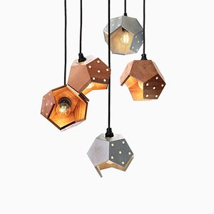 Lámpara colgante Basic Twelve Quintet de hormigón y nogal de Plato Design