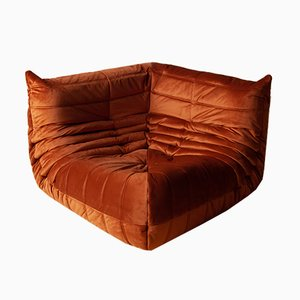 Vintage French Velvet Togo Corner Sofa by Michel Ducaroy for Ligne Roset