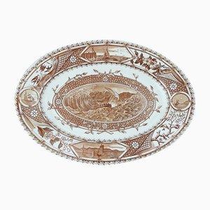 Antiker englischer Teller aus Steingut von G. W. Turner für Tunstall