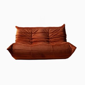 Vintage French Velvet 2-Seater Sofa by Michel Ducaroy for Ligne Roset