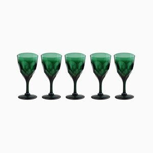 Antique Green Cut Glass Wine Glasses, Set of 5
