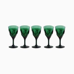 Grüne antike Weingläser, 5er Set