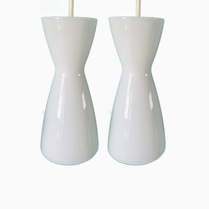 Opaline Glass Ceiling Lamps by Per Lütken for Holmegaard, 1970s, Set of 2