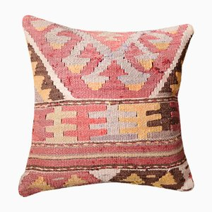 Pink Abstract Kilim Pillow Cover by Zencef Contemporary