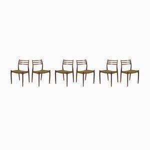 Chaises de Salon Modèle JL 78 Vintage en Palissandre par Niels Otto Møller pour JL Møllers, années 70, Set de 6