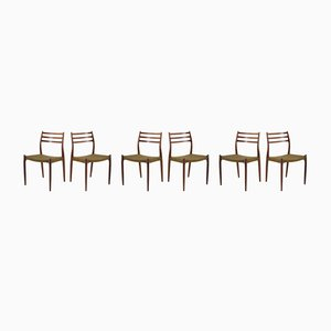 Vintage Model JL 78 Rosewood Dining Chairs by Niels Otto Møller for J.L. Møllers, 1970s, Set of 6